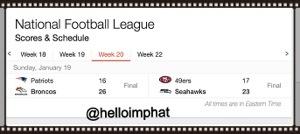 NFL 2013 week 20 score